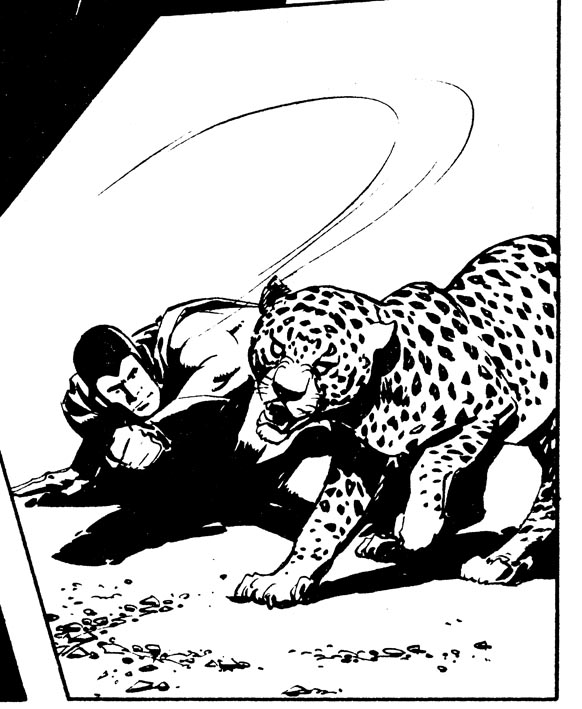 Johnny Future fighting a leopard