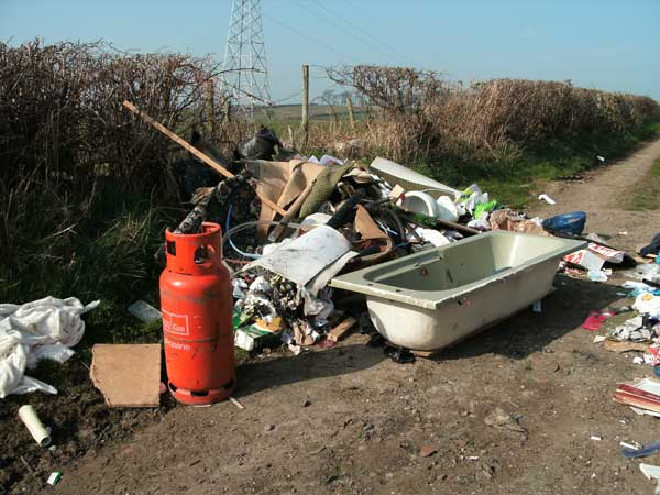 Illegal Fly Tipping on Back Castle Lane, Lancaster, in March 2009