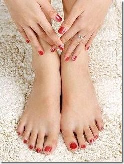 nail polish on fingers and toes