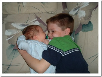 2004 0205 Clyn loves his baby brother Hyrum