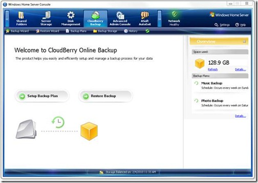 CloudBerry Backup Tab