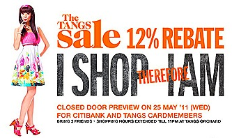 Tangs 12% rebate May