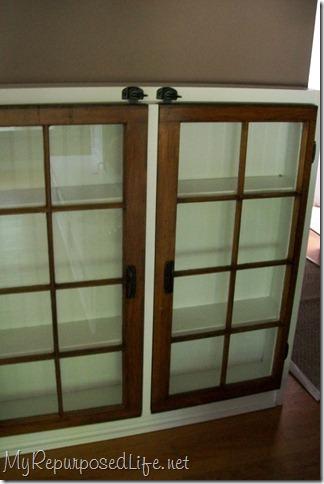 repurposed window cabinet