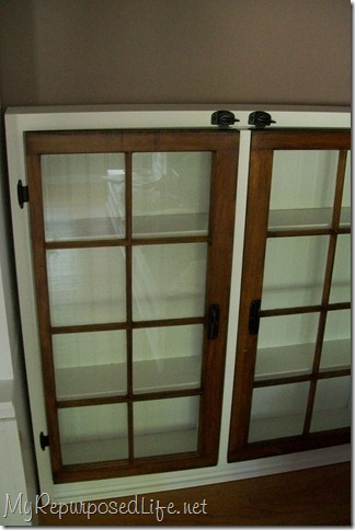 windows made into cabinet doors