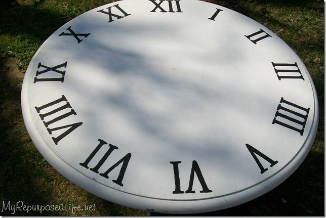 faux clock with black numerals