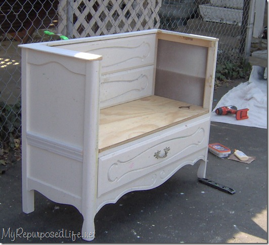 dresser repurposed into a bench