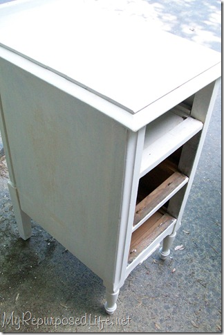 vintage nightstand painted white