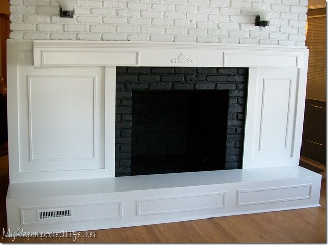 How to update an old brick fireplace with some lumber and paint. I