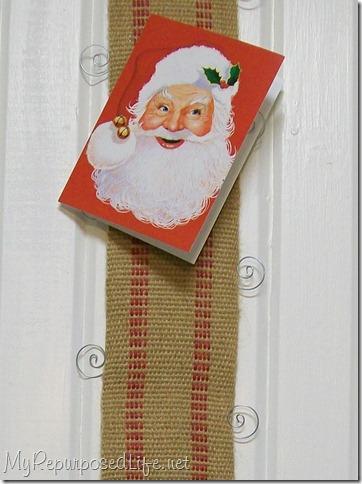 Upholstery webbing Christmas Card Holder