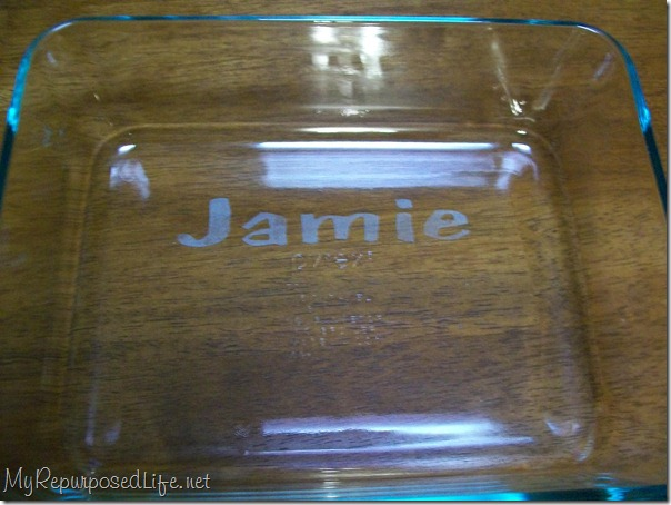 easy etching on baking dish