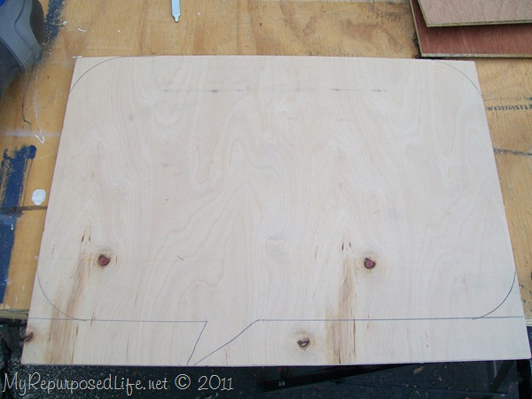 chalkboard speech bubble pattern on plywood