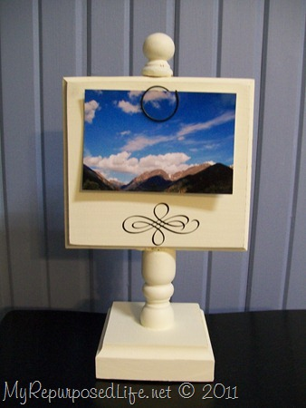 white pedestal display photo holder stand MyRepurposedLife.com
