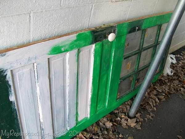 repurposed door into shelf