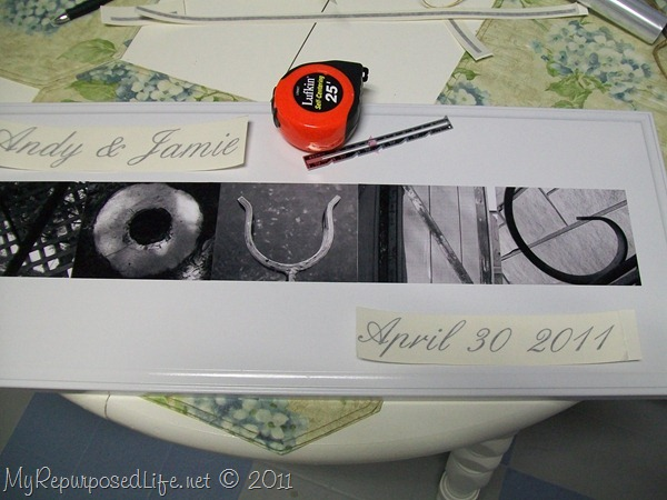 making an black white alphabet photography sign for a wedding gift