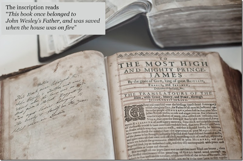 john wesley's father samuel wesleys bible saved from epworth rectory fire