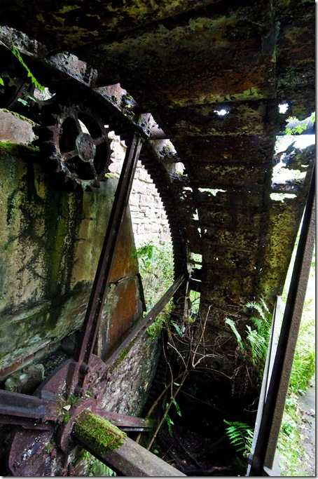 inside of derelict waterwheel at disused watermill