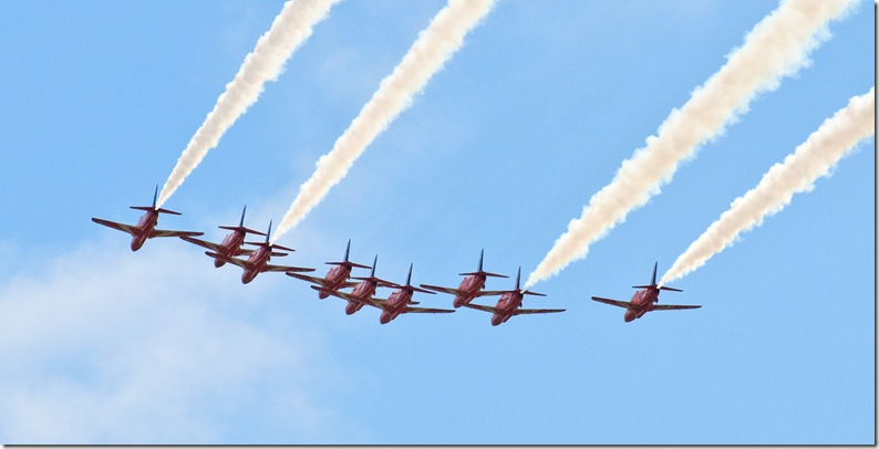 red arrows in close formation