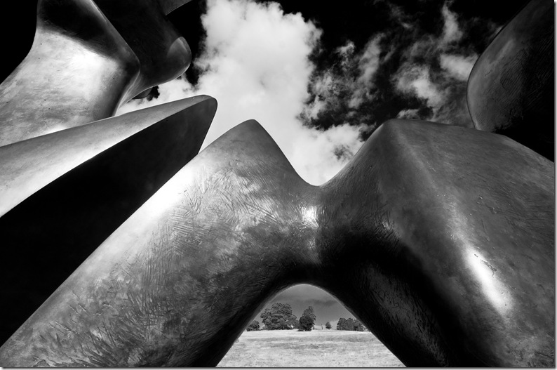 Henry Moore 2 piece reclining figure cut close up