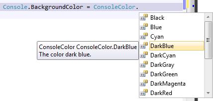 Console Color ConsoleColor Dark Blue