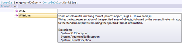 Console WriteLine Visual Studio 2010