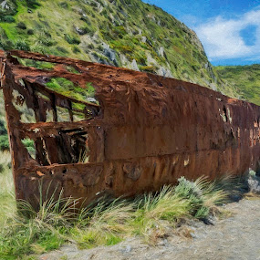 The Rusted Boat by Barb Hauxwell - Digital Art Things ( clouds, sky, mountiain, dirt road, wellington, rust, boat, new zealand )