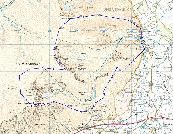 Blencathra Loop (16km) Map