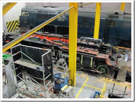 The engineering workshops of the NRM. Sadly this is all there is of the  Flying Scotsman under going a major overhaul.