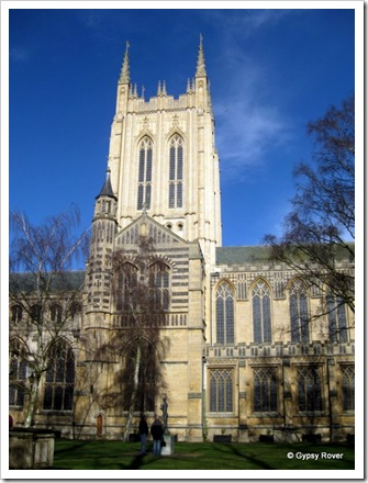 St Edmundsbury Cathedral with the central tower completed in 2005.