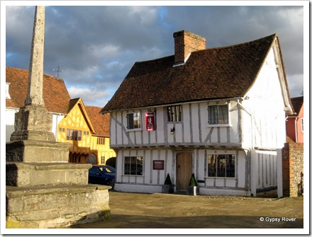Little Hall in front of the village cross at Lavenham.