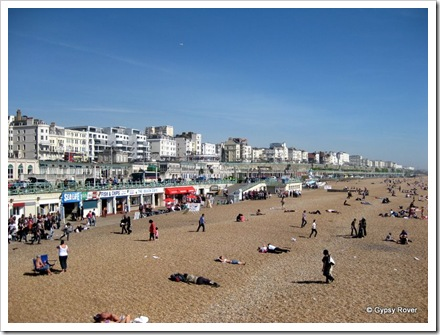 Brighton's stoney beach, multi level promenade walks and the hotels and Guest Houses.