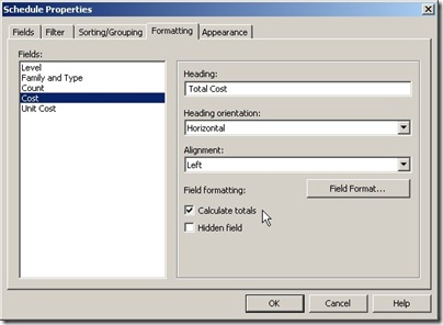 total cost formatting