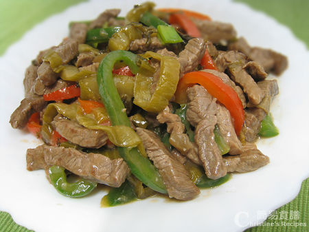 Stir Fried Shredded Beef with Preserved Vegetable