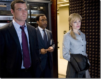 "Liev Schreiber as ""Ted Winter"", Chiwetel Ejiofor as ""Peabody"" and Angelina Jolie as ""Evelyn Salt"" in Columbia Pictures' contemporary action thriller SALT."