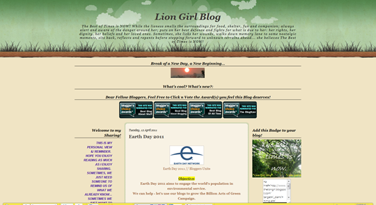 Lion Girl Blog  Earth Day 2011