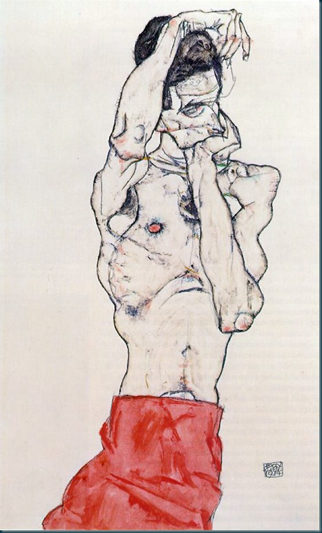 Schiele - standing male nude with red loincloth - 1914