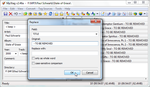 Figure 4 – Mp3tag Replace action window