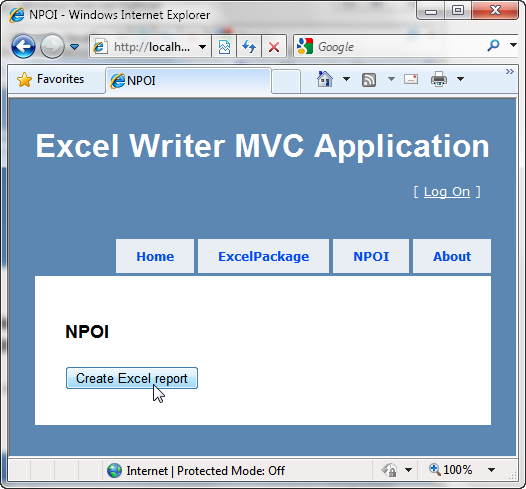 Excel Writer NPOI View Page