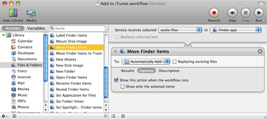 Add to iTunes.workflow configured according to the six steps described above