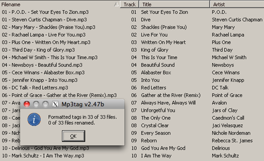 Mp3tag Guess Values Window for Track Artist and Title in File Name [ after ]