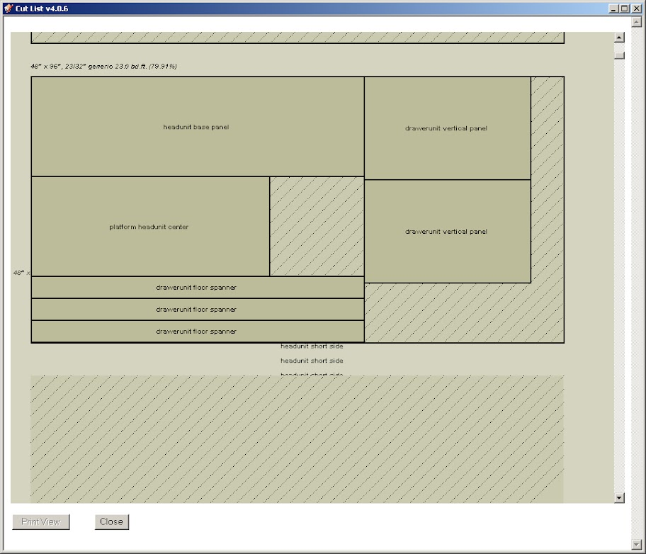 Bogus Sketchup Cutlist layout view - by modestmouser