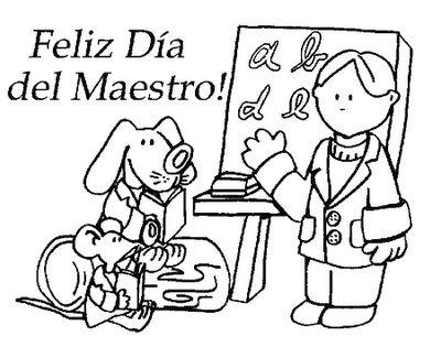 Dia Del Maestro Dibujos Para Pintar Y Colorear Dia Del Maestro