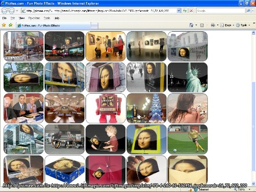 I 25 riquadri di picmee.com riempiti con la faccia di Mona Lisa