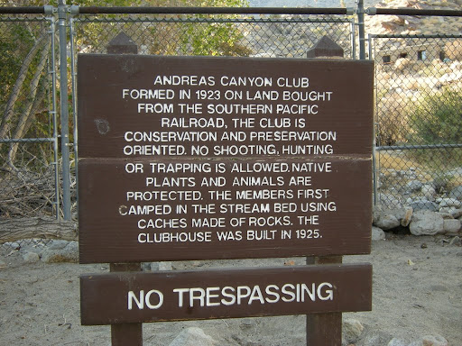 Apparently the Andreas Canyon Club was or is behind that