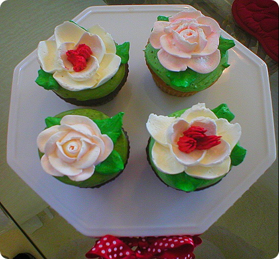 Valentines Day cupcakes overhead II