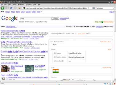 Google Search with Wolfram Alpha Google Addon in Firefox