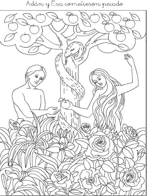ADAN Y EVA : DIBUJOS DE ADAN Y EVA PARA COLOREAR
