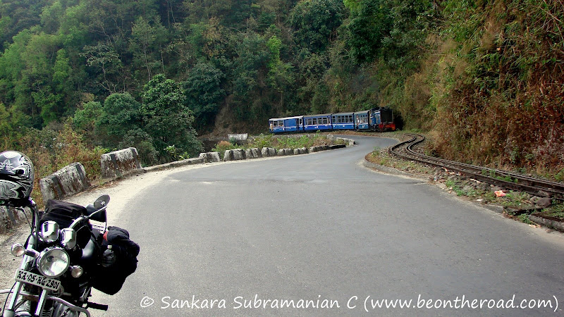 The Darjeeling mountain railway toy train chugging its way to Ghum
