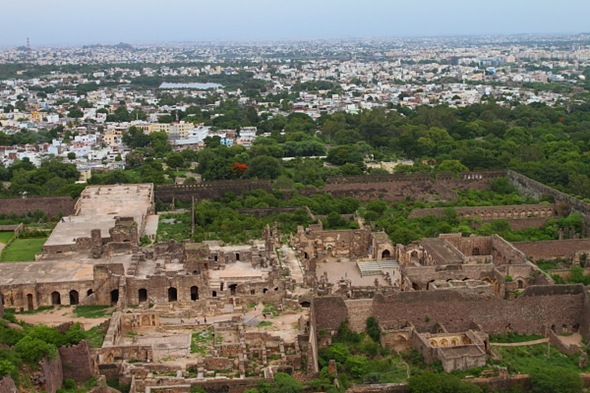 Golconda Ruins and the city of Hyderabad behind it