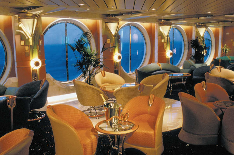 Where better to celebrate your first night cruising than Vision of the Seas' upscale Champagne Bar?