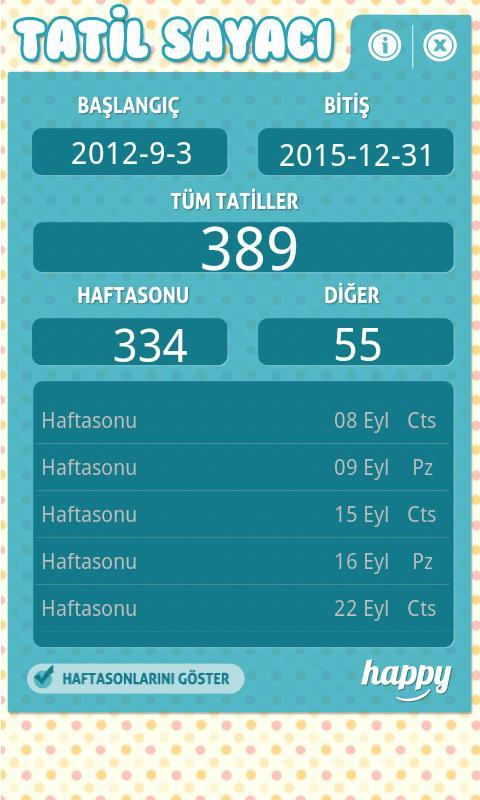 Tatil Sayaci - screenshot